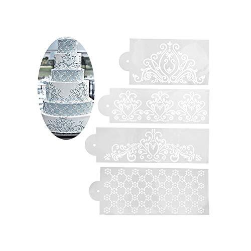 Ziyero 4 Stk/Set Blumenmuster Zucker Dekor Werkzeuge Edge Dekorieren Backen Werkzeug Kuchen Schablone Lace Lebensmittelqualität Kunststoff, Glatt, Wiederverwendbar, für Kuchen, Schokolade, Dessert usw