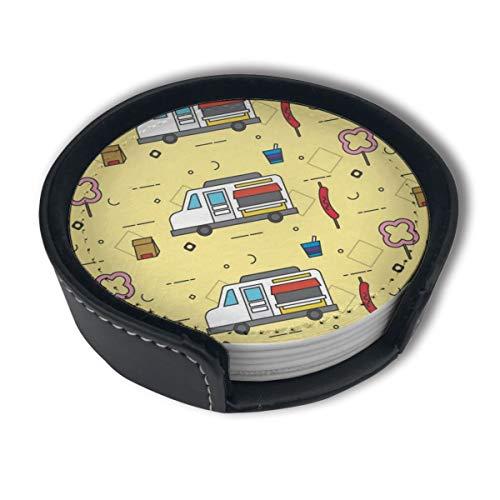 BJAMAJ Cartoon FoodTruck Muster Premium PU Leder Untersetzer Getränke-Runde Untersetzer mit Halter-Sets, geeignet für Zuhause und Küche, 6 Stück