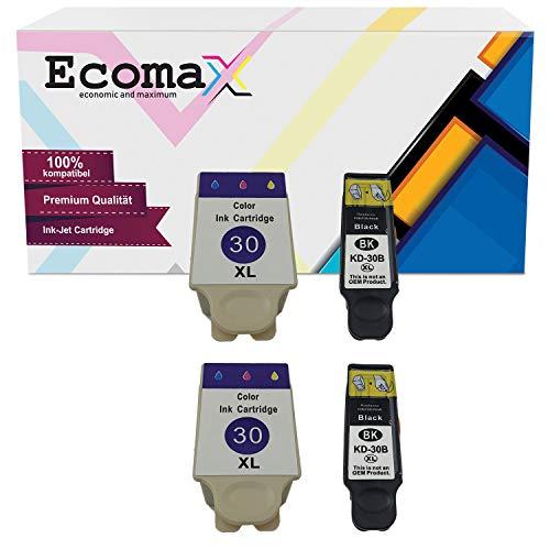 Ecomax 4 XL Druckerpatronen kompatibel zu Kodak 30B XL 30C XL für Kodak ESP C100 C110 C115 C300 C310 C315 C330, Kodak ESP Office 2170 AIO 2150, Hero 2.2, 3.1, 4.2, 5.1