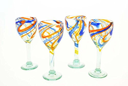 Set of 4, Blue and Orange Swirl Wine Glasses-12 ozs.