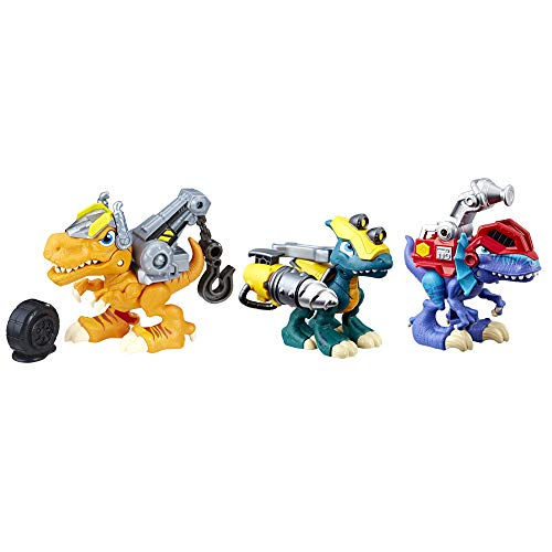 Chomp Squad Playskool Dino Bundle, Dinosaur Toy 3-Pack with Backsplash, Tow Zone and Drill Bite Dinosaur Figures for Kids 3 Years and Up
