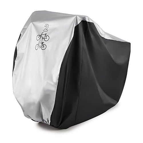 Bike Cover for 2 Bikes GoFriend 190T Nylon Waterproof Bike Cover Double 2 Bicycle Cycle Scooter Rain and Dust Resistant UV Protection Ideal for Mountain Road, Electric and Cruiser Bikes
