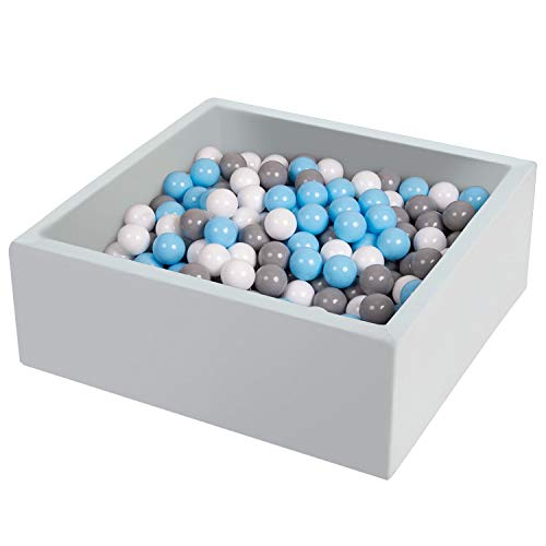 TRENDBOX Ball Pit 35.4x35.4x13.8in Square Baby Ball Pit Foam Ball Pit Ball Pool Indoor Ball Pits for Toddlers Babies Balls NOT Included - Light Gray