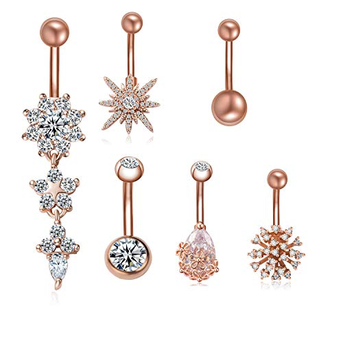 JDXN 6PCS 14G Surgical Steel Belly Button Rings CZ Navel Rings Belly Body Piercing Jewelry For Women (Rose Gold / 6PCS Set)