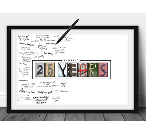 Katie Doodle 25th Birthday Decorations - Creative Guest Book Alternative - 25th Anniversary Party Supplies Centerpiece Card Gift for Men Women Him Her - 25 Years Wall Art Poster, 11x17 [Unframed]