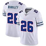 SCHUANG Saquon Barkley 26# Maillot De Football Américain, Maillot De Rugby des New York Giants #26 pour Homme, Broderie à Manches Courtes Sport T-Shirt Fan Training Tops,White-M