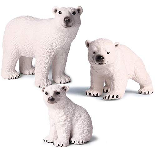 Kolobok – Safari Animals Action Figures – Polar Bears – Animals Family -Educational Toys – 3 pcs