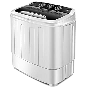 Giantex Washing Machine Portable Clothes Washing Machines 13lbs Wash and Spin Cycle Semi-Automatic Laundry Machine Compact Washer and Dryer Combo Twin Tub Mini Washer Machine for Apartment Camping Dorms and RV  Black&White
