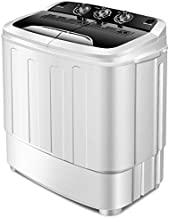 Giantex Washing Machine, Portable Clothes Washing Machines, 13lbs Wash and Spin Cycle, Semi-Automatic Laundry Machine, Compact Washer and Dryer Combo, Twin Tub Mini Washer Machine for Apartment, Camping, Dorms and RV (Black&White)