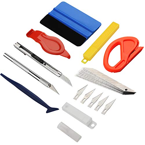 GISSVOGEEK Vehicle Vinyl Film Tool Kit for Car Wrapping,8 in 1 Car Window Film Tinting Tools,Vinyl Wrap Kit Precut/Auto Window Tint Installation Kit Wallpaper Smoothing Tool