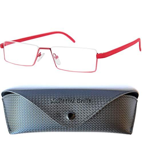 Flex Brille – Leichte & Flexible Halbbrille Lesebrille, Edelstahl Rahmen (Rot), GRATIS Brillenetui, Lesehilfe Herren und Damen +1.5 Dioptrien