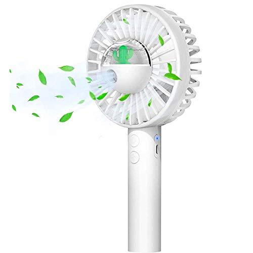 Slyabz Draagbare mini-ventilator, 3 snelheden, elektrische USB-ventilator met luchtbevochtiger, oplaadbaar voor Desk, kantoor, outdoor, reizen, thuis