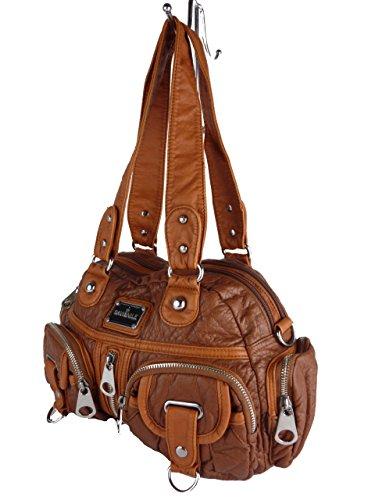 David NILE Handtasche LUNA TP1410J, Zwei Separate Hauptfächer, Diverse kleine Fächer, Trageriemen, große Farbauswahl, 35x22x13cm (braun)