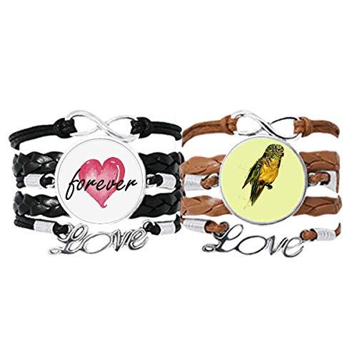 Bestchong Juego de pulsera de oro amarillo con correa de mano, cuerda de cuero para siempre amor