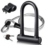 DINOKA Bike U Lock - 16mm Heavy Duty Security U Cable Bike Lock with 4ft Flex Bike Cable and Sturdy Mounting Bracket for Road Bike Mountain Bike Electric Bike Folding Bike