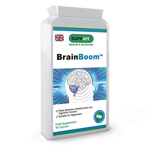 BrainBoom Brain Support Health Supplement Nootropics | 90 Capsules | for Cognitive Function, Concentration, Memory, Focus & Energy | Ginkgo Biloba & Bacopa Monnieri | UK Manufactured