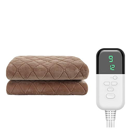 Electric Blankets & Mattress Toppers Single Electric Blanket Student Dormitory Home Safety Nine-Speed Temperature Adjustment, Smart Timing Waterproof Non-Radiation Electric Mattress Coffee Color