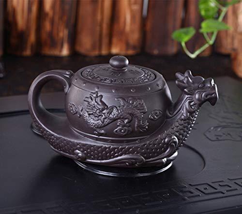 Chinesische Yixing-Teekanne, Drachen-Motiv, handgefertigt, Ton, Teekanne, Kung-Fu-Teekanne, groß, Violett