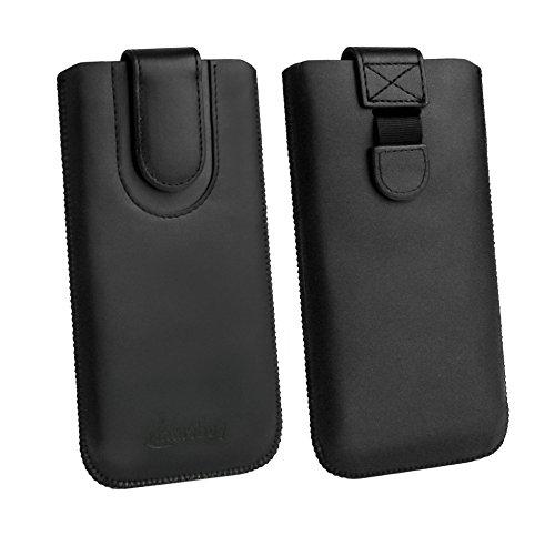emartbuy Schwarz/Schwarz Premium-Pu-Leder-Slide In Hülle Abdeckung Tashe Hülle Sleeve Halter (Größe F) Mit Zuglaschen Mechanismus Kompatibel mit Die Unten Aufgeführten Smartphones