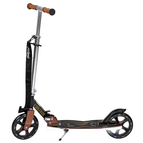 Physionics® SCOOT01-L monopattino due ruote (Control) nero-marrone con LED