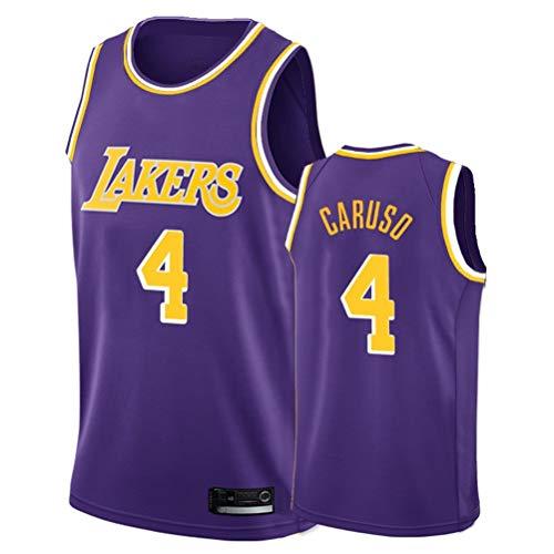 Jersey Men's NBA Los Angeles Lakers # 4 Alex Caruso Retro Bordado Malla Baloncesto Ropa de Entrenamiento, Unisex Sin Mangas Tshirt Chaleco,Púrpura,XL
