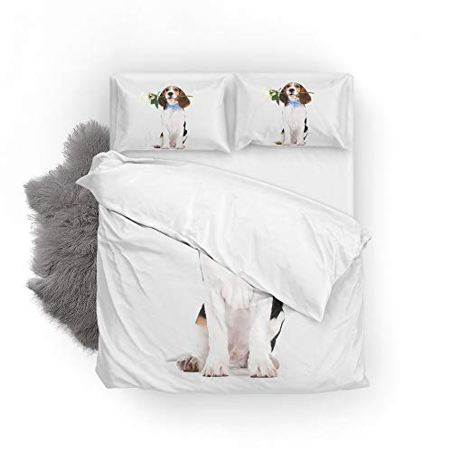 Orediy Soft Quilt Bedding Sets Beagle Puppy Flower Home Printed Duvet Cover with Pillowcases 2 Pieces Set 135 x 200 CM,Single Size