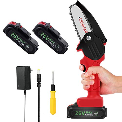 Mini Cordless ChainSaw with 2 Battery, Seesii 4-Inch Cordless Electric Pruning Chain Saw, One-Handed Portable Battery Power Saw for Branch Wood Cutting Garden Tree Logging Trimming