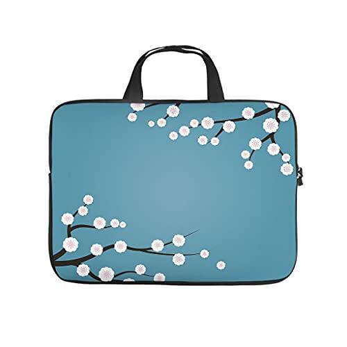 Funda para portátil con diseño de flores de cerezo japonés, resistente a los arañazos, ideal como regalo, Blanco, 15 pulgadas,