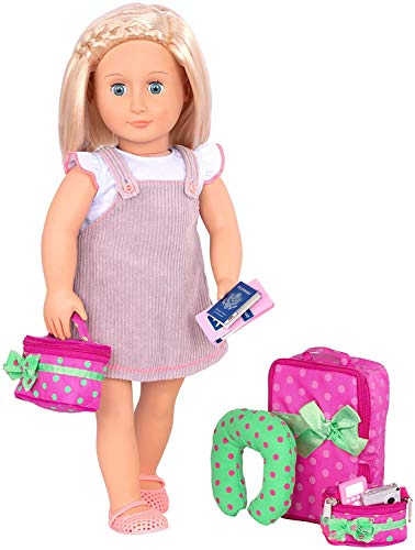 Our Generation 70.37507 Luggage And Travel Set Toy Accessories, Pink & Green, for A 18 inch / 46 cm Doll