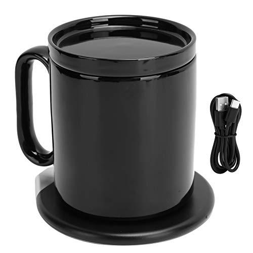 Calentador de Tazas USB, 2 en 1, Calentador de café eléctrico de 55 ℃ con Taza de 350 ml y Cargador inalámbrico, Compatible con 10 W, Carga de 7,5 W / 5 W, Negro