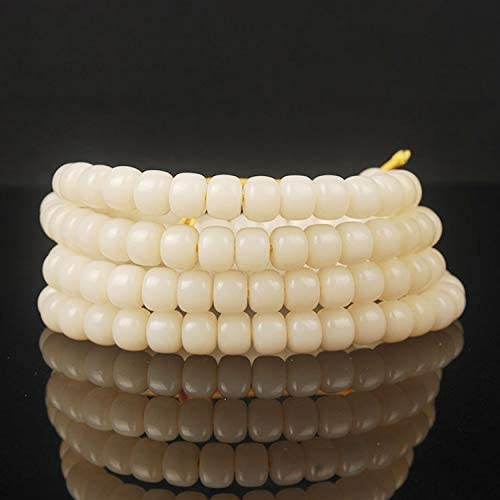 BDI058326 Beadings Natural White Bodhi Barrel 108 Beads Cheap Max 90% OFF mail order shopping Tibetan