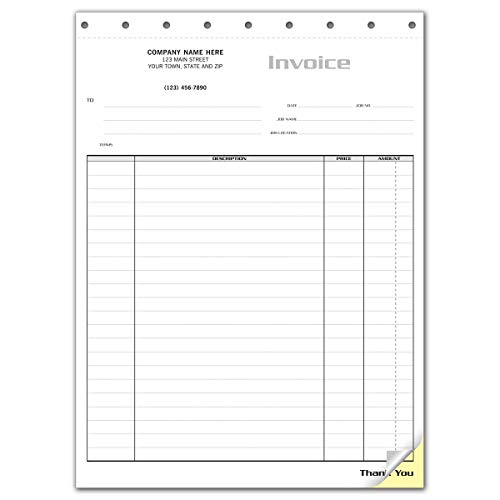 CheckSimple Sales Invoice Forms, General Use (Item, Description, Price, Total), 2-Part, Customized (1000 invoices)
