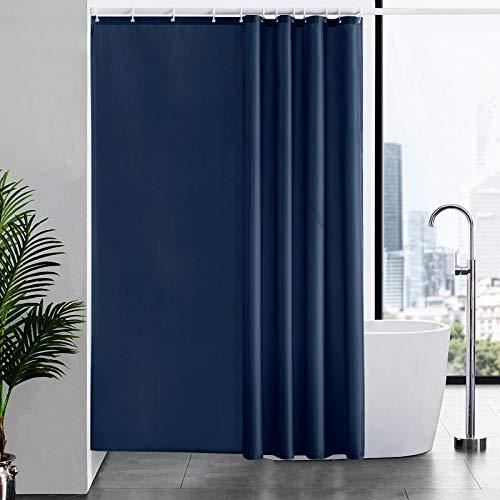 Furlinic Duschvorhänge Wasserdicht in Badezimmer, Textiler Vorhang für Badewanne Anti-schimmel Badvorhang aus Stoff Blickdicht, mit 12 Haken Dunkelblau 180x210.
