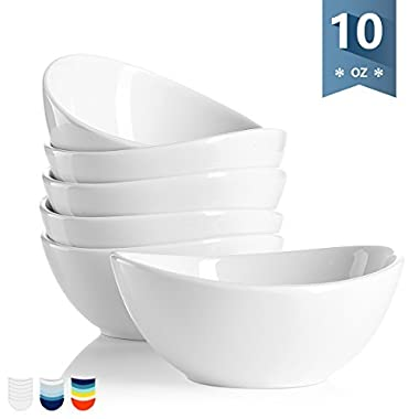 Sweese 1106 Porcelain Bowls - 10 Ounce for Ice Cream Dessert, Small Side Dishes - Set of 6, White