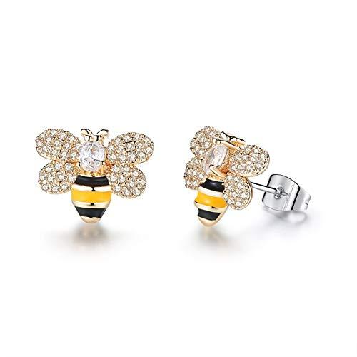 AILUOR Orecchini a perno placcati in oro con cristalli smaltati e ape a forma di abeto, graziosi orecchini pendenti a forma di ape e Lega, colore: Oro, cod. ABE001