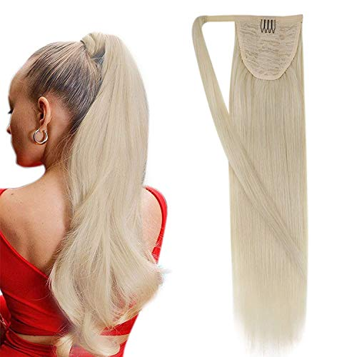Easyouth Pferdeschwanz Haarverlängerung Wrap Around With Claw Clips 22 Zoll Farbe Hellblond 100g Pro Paket One Piece Hair Extensions Long Silky Straight Remy Menschliches Haar For Women