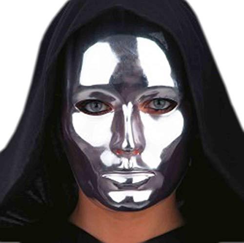 CARNIVAL TOYS S.R.L. Chromfarbene Maske für Erwachsene Silber