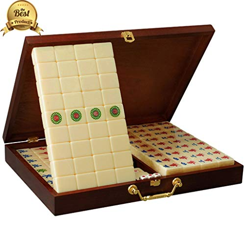 PSHH Mahjong Haushalt Hand Reiben High-End-Aufbewahrungsbox Hand Spielen Mahjong Brand Sparrow Brand 144 Casual Puzzle-Spiele (Color : Ivory Color, Size : 3.7 * 2.8cm*144)