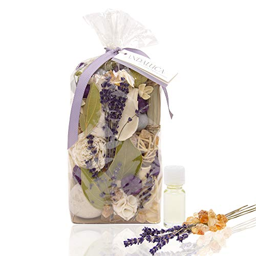 ANDALUCA Amber Lavender Potpourri | Large 20 oz Bag + Fragrance Vial | Scents of Crushed Lavender, Crystal Amber, White Eucalyptus, Sheer Musk and Sage