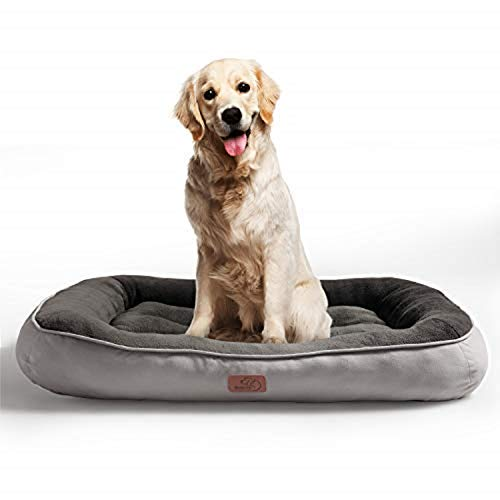 Bedsure Plush Dog Bed Large Size- Machine Washable Pet Bolster Bed for Large Dogs Up to 31 KG, Grey, 92x69x18cm