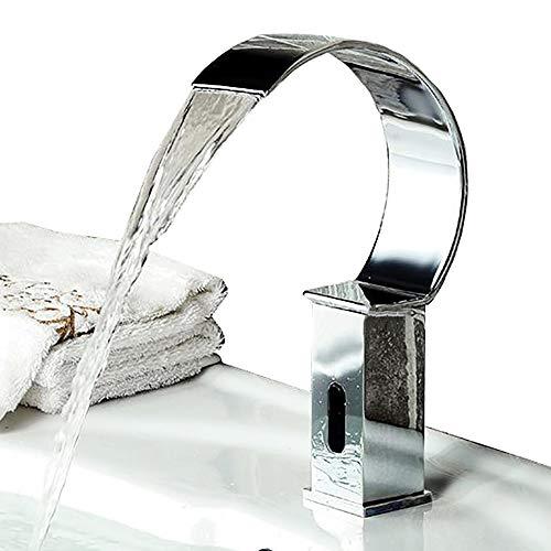 WOOLIY Infrarot-Sensor-Hahn, Touchless Hygiene Taps, Wasserfall-Hahn-Mischbatterien, Deck Montag, Messing, Mit Steuerkasten Für Badezimmer-Bassin-Küche (Chrom)