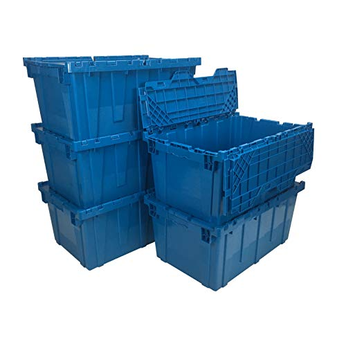 uBoxes, Storage and Packing Plastic Tote Crate Attached Lid Flip Top, 27-Inch x 17-Inch x 12-Inch, (Blue, 5-Pack)