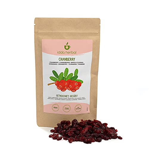 Arándanos deshidratados (250g), arándanos secos, arándanos sin aditivos artificiales, ligeramente endulzados con jugo de frutas, frutos secos