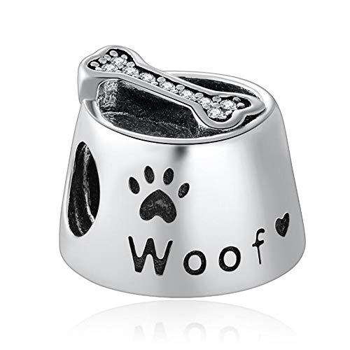 YDMZMS Authentische 925 Sterling Silber Perle Hund Welpenfutter Knochen Schüssel Woof Charm Fit Armband Armreif DIY Schmuck