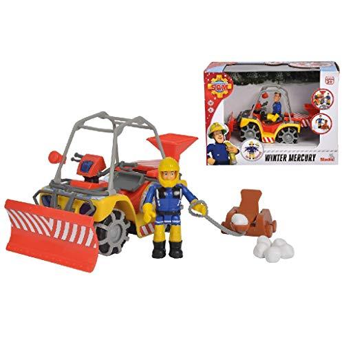 Simba 109251049038 Brandweerman Sam Mercury Sneeuw Quad Met Speelfiguur, 12 Stuk