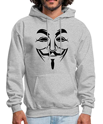 Guy Fawkes Anonymous Men's Hoodie, L, heather gray