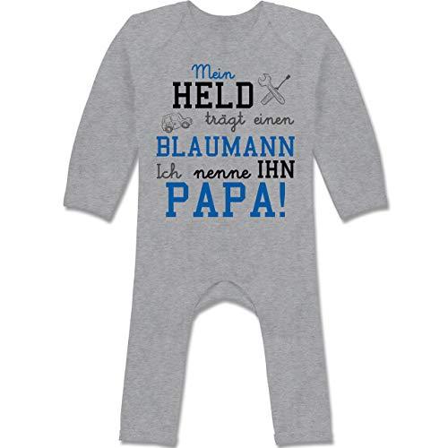 Shirtracer Sprüche Baby - Mein Held trägt einen Blaumann - 6/12 Monate - Grau meliert - Baby blaumann mädchen - BZ13 - Baby-Body Langarm für Jungen und Mädchen