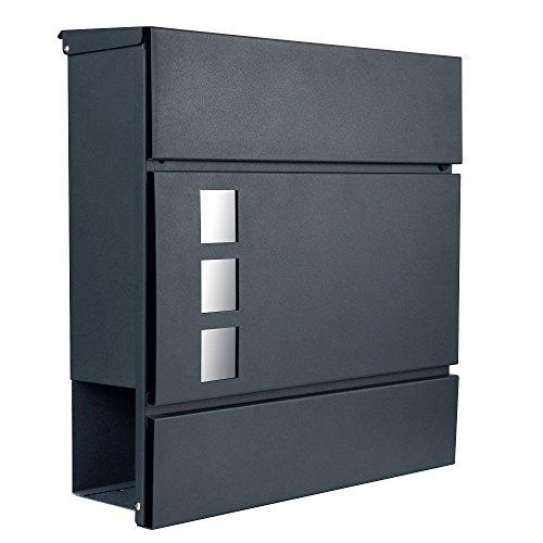 Lukadria Briefkasten anthrazit grau RAL 7016 Sichtfenster Zeitungsfach Wandbriefkasten mit Zeitungsrolle Design Post Mailbox 11 (anthrazit-grau RAL7016)