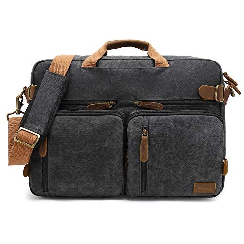 CoolBELL Herren Messenger Bag Umhängetasche Aktentasche umwandelbar Reiserucksack Laptoptasche 17,3 Zoll Multifunctional Schultertasche/Handtasche für Männer, wasserdicht Wachsöl Canvas Schwarz