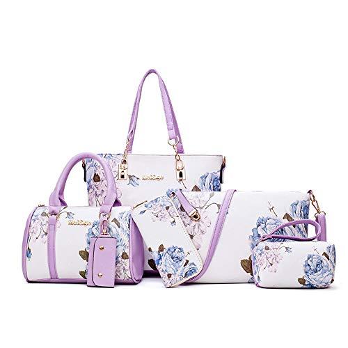 H&X Fashion(エイチエックス ファッション) H&X® レディース バッグ 6点セット トート 手さげバッグ ショルダーバッグ 化粧品 コスメ ポーチ 財布 キーケース (紫色の花) 1-紫色の花 not
